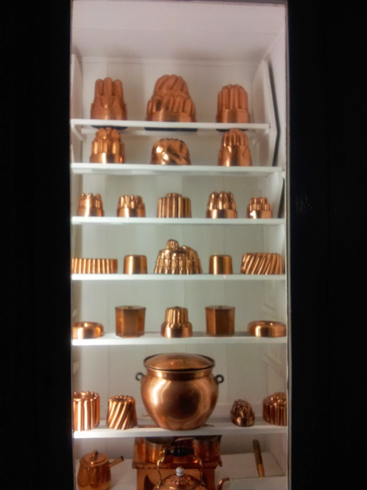 Jelly moulds in the kitchen of Inverary castle, Scotland