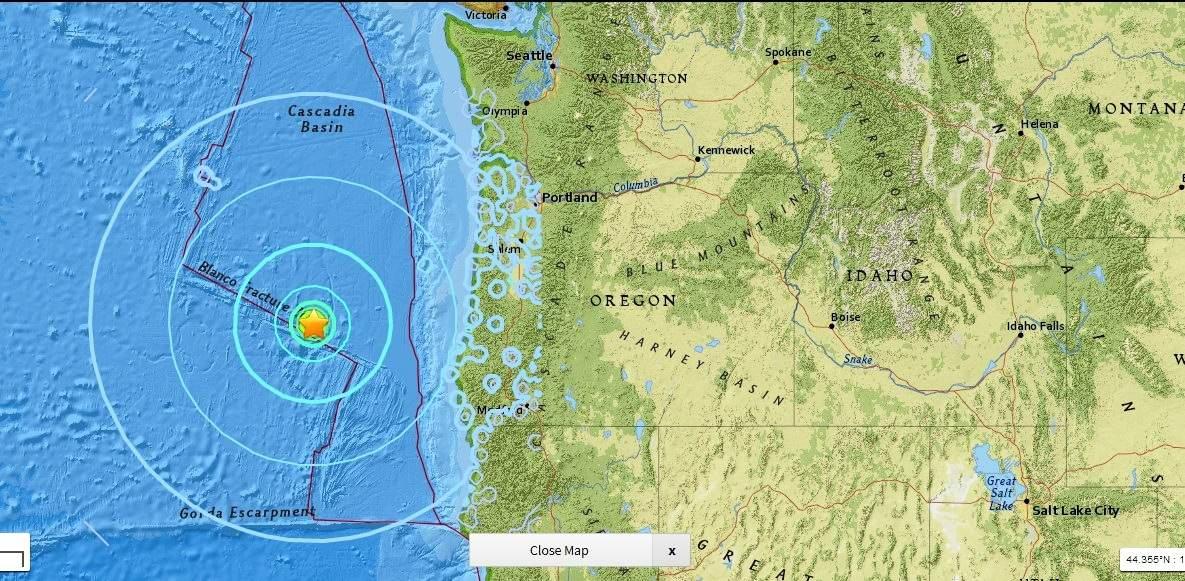 Magnitude 6.2 Earthquake Hits Off Coast of Western Oregon