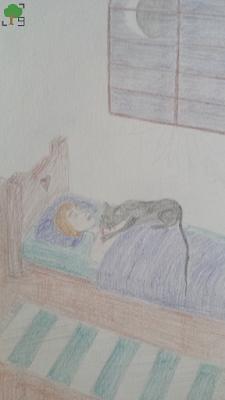 rysunek, demonologia słowiańska, czarny kot, paraliż przysenny