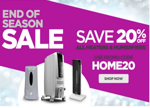 The Shopping Channel End of Season Sale 20% Off Heaters & Humidifiers Promo Code