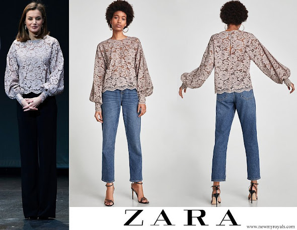 Queen Letizia wore Zara faded lace t-shirt