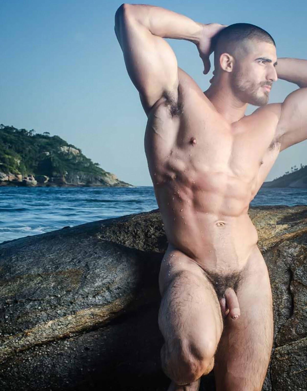 Big black naked man muscle