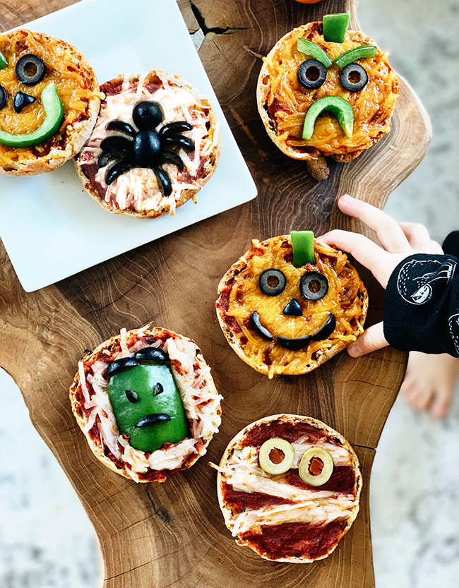 Vegan Mini Halloween Pizzas