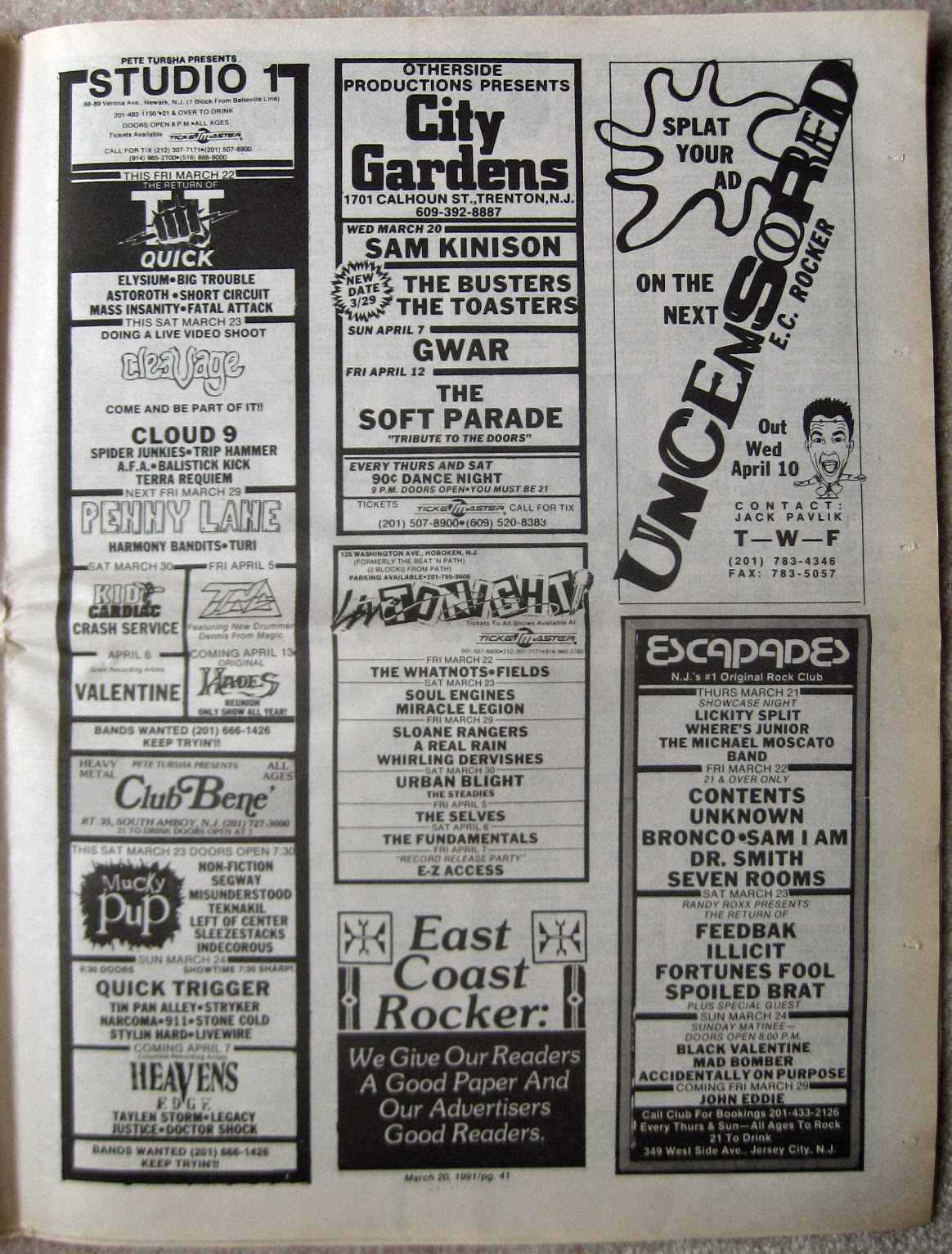Studio One - Club Bene - City Gardens - Escapades - Live Tonight band line ups 1991