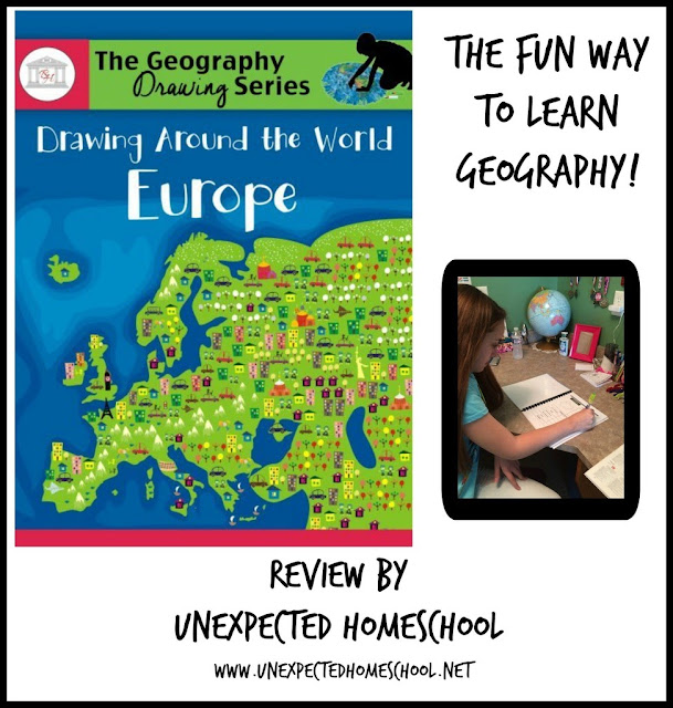 Unexpected Homeschool Review: Drawing Around the World: Europe from Brookdale House. A fun and easy way to learn geography.