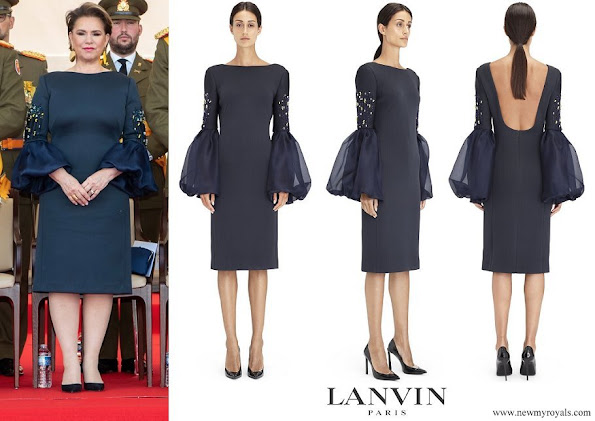 Duchess Maria Teresa wore Lanvin Embroidered Silk Neoprene Dress