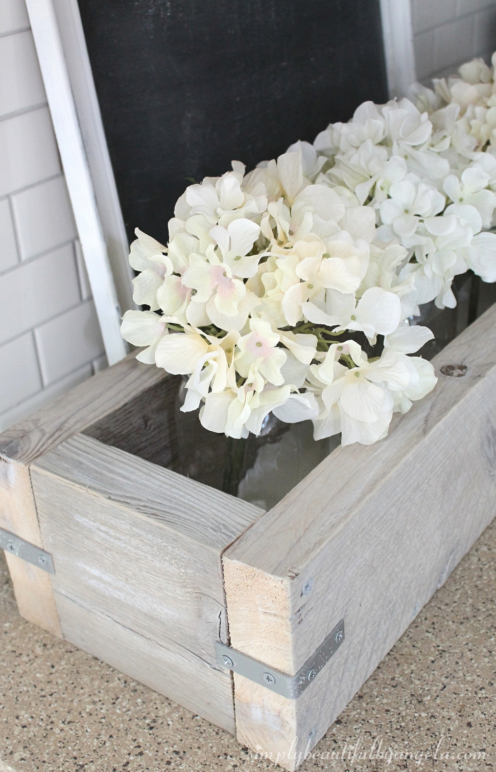 White Wash Wood Kitchen Planter