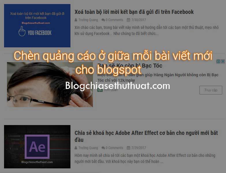 Chèn quảng cáo ở giữa mỗi bài viết mới cho blogspot