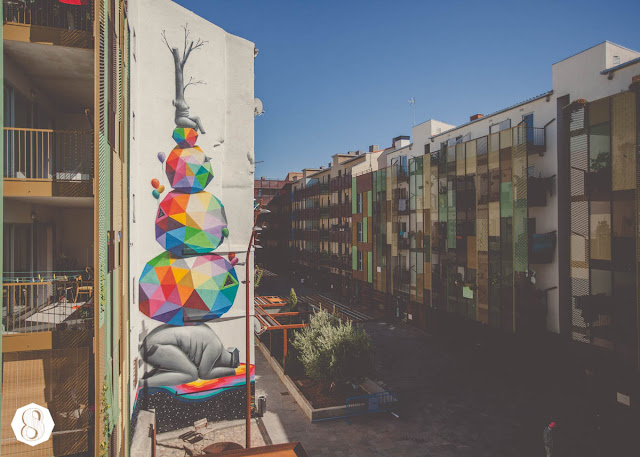 Street Art By Spanish Artist Okuda On The Streets Of Zaragoza, Spain. 1