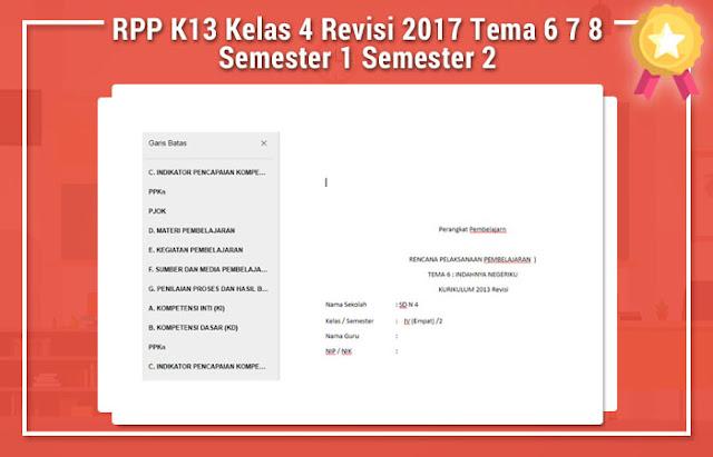 RPP K13 Kelas 4 Revisi 2017 Tema 6 7 8 Semester 1 Semester 2
