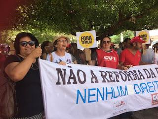 Em Picuí profissionais de diversas categorias realizam protesto contra reformas do ensino médio e da previdência; veja vídeo