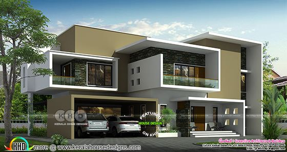 Front elevation of unique box model contemporary home