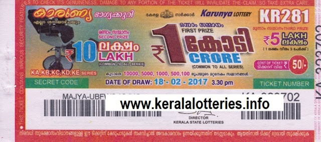 Kerala lottery result official copy of Karunya_KR-292 on 06 May 2017