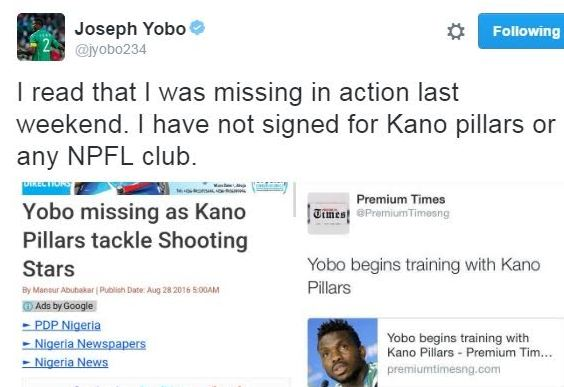 Joseph Yobo denies reports he's signed for Kano Pillars or any other club in Nigeria