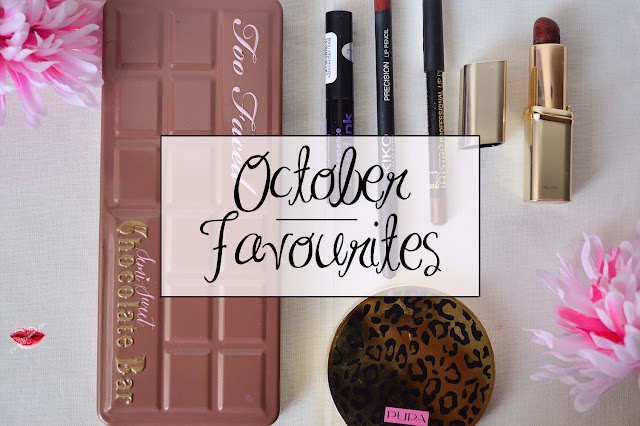October Favourites, Semi Sweet Chcolate Bar Too Faced, Liquid Ink Essence, Astra Professional Lip Liner #34, Precision Lip Pencil #705, Oud Obsession #703 Color Riche L'Oreal Paris, Soft Wild Blush Pupa