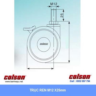 Kích thước cóc vít Bánh xe đẩy y tế Colson Mỹ cho máy siêu âm phi 100 | CPT-4854-85BRK4