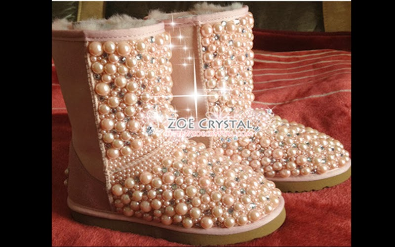 Bling And Sparkly Pink Pearls Ugg Inspired Sheepskin Wool