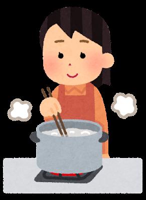食材を茹でている人のイラスト(女性・箸)
