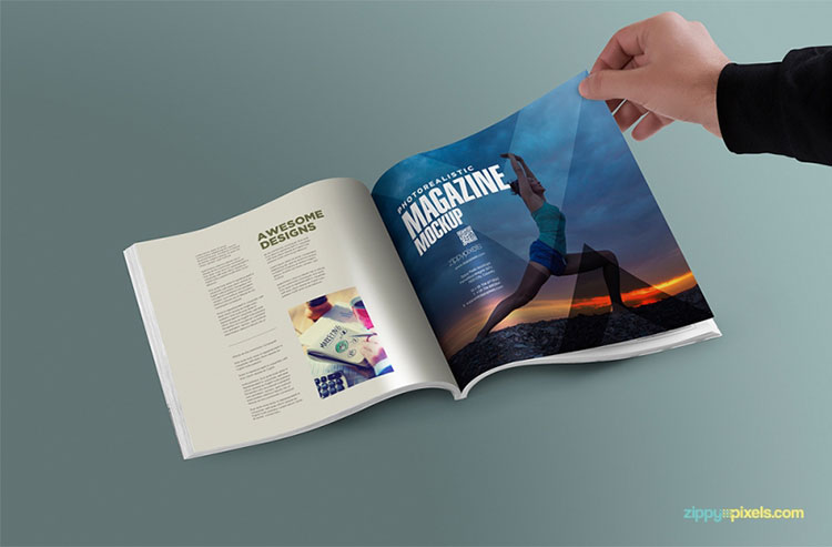Free Square PSD Magazine Mockup