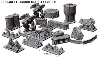 A few of the TERRAIN EXPANSION SET items shown in scale with the Crusader CAV and the Banshee Grav-Tank!