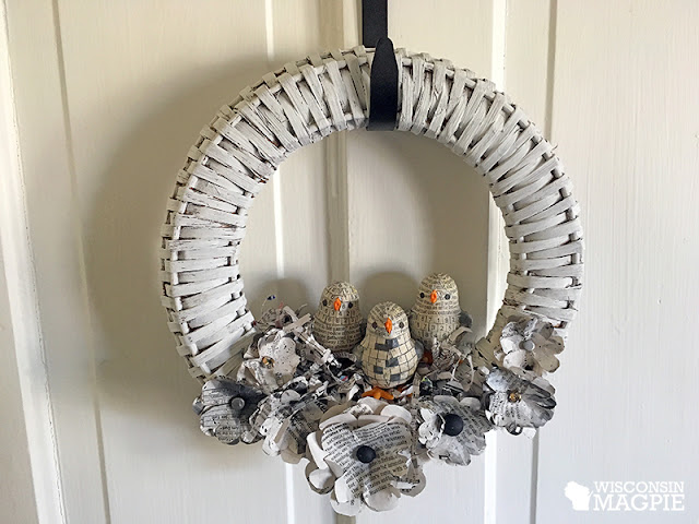 newspaper chick wreath by wisconsinmagpie.com