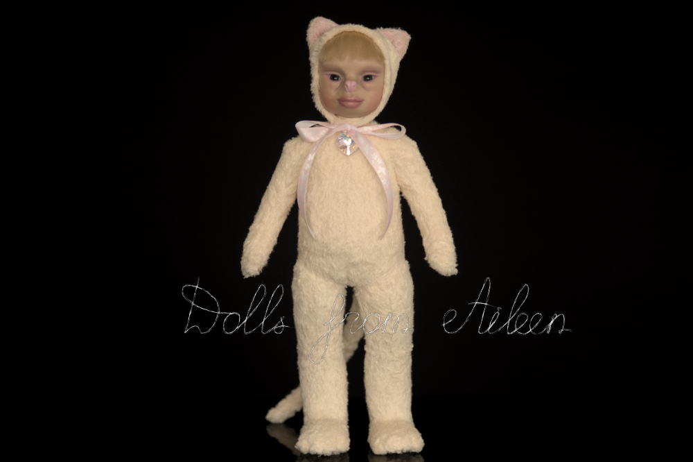 ooak artist teddy cat doll, view from front