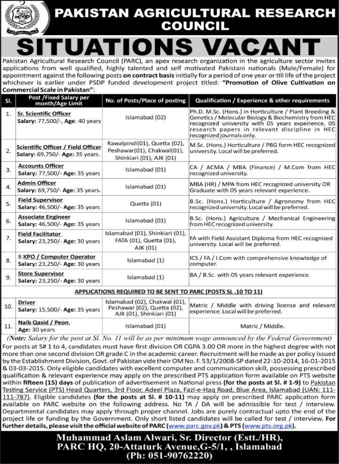 Pakistan Agriculture Research Council Jobs via PTS Islamabad 2018 for 30 Vacancies