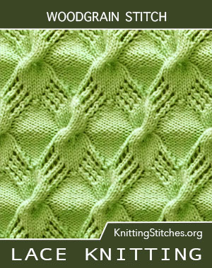 Free instructions for Knitting the Diamond stitch. A combination of Cable and Lace Knitting Stitch