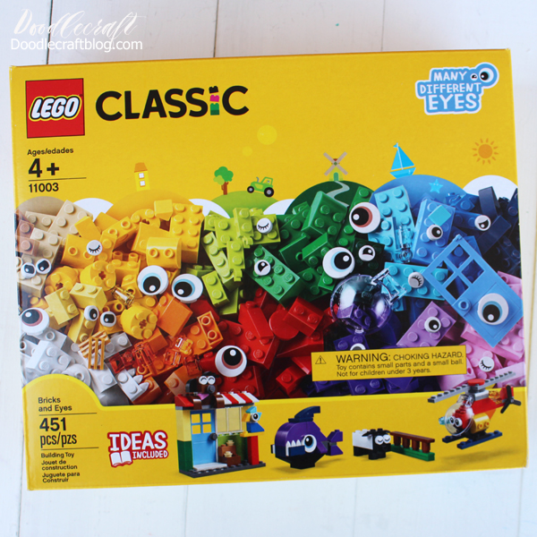 Channel creativity with the classic yellow box of lego pieces: bricks, eyes and accessories for creative play.