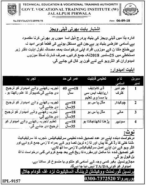 Latest TEVTA Jobs in Jalalpur Pirwala