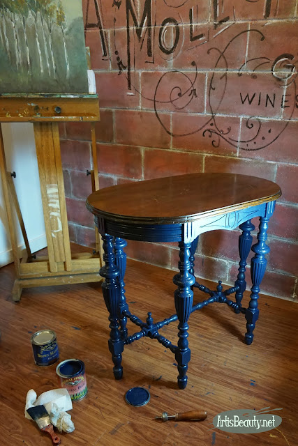 coastal blue general finishes milk paint libary table makeover artisbeauty art studio