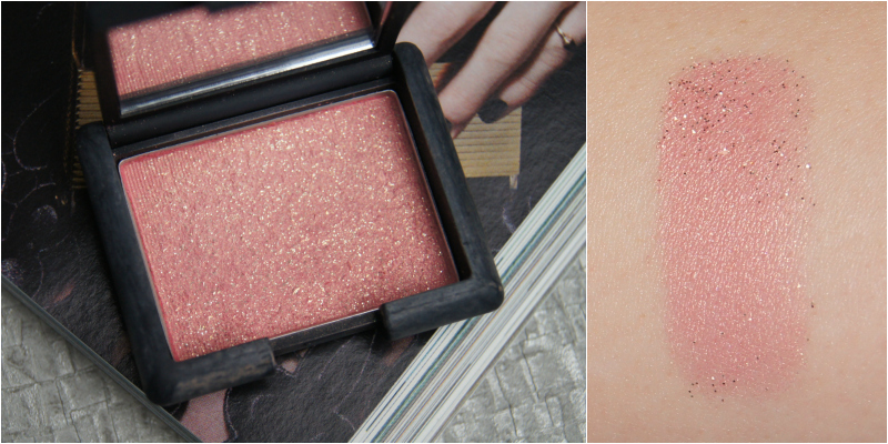 nars super orgasm powder blush review swatch bright frosty pink chunky gold glitter perfect night out blush strong for daytime