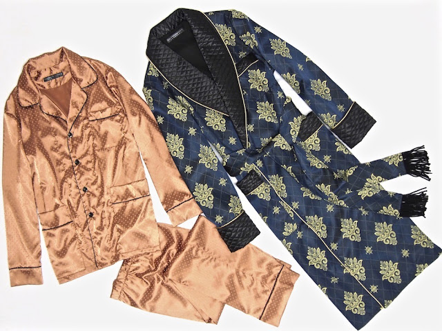 Mens paisley silk dressing gown gentlemans quilted smoking jacket robe