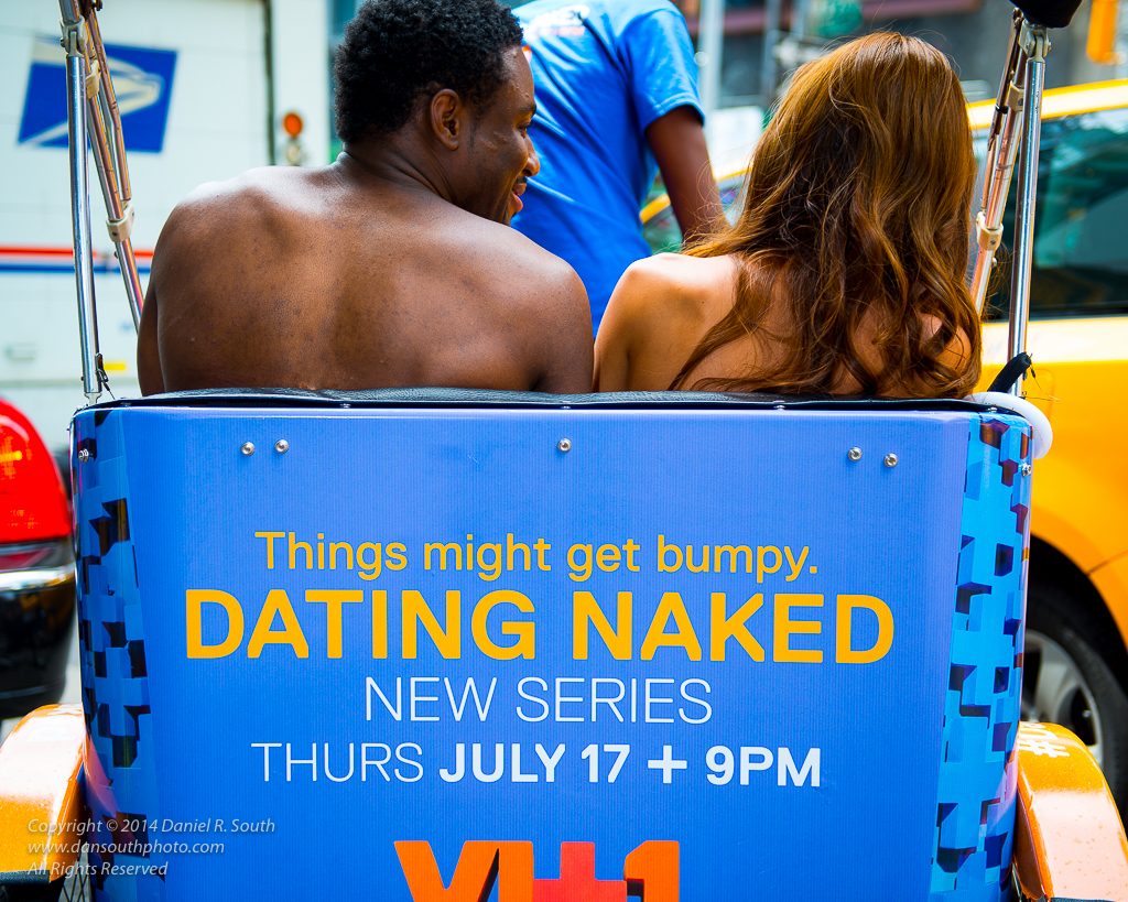a photo of a dating naked television promo shoot in times square