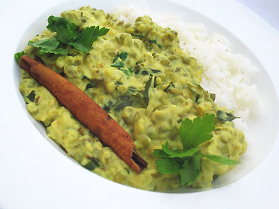 mung beans in karhi sauce