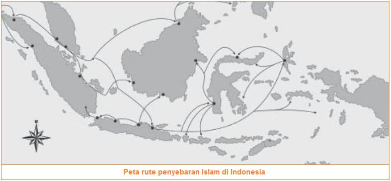 Peta rute penyebaran Islam di Indonesia