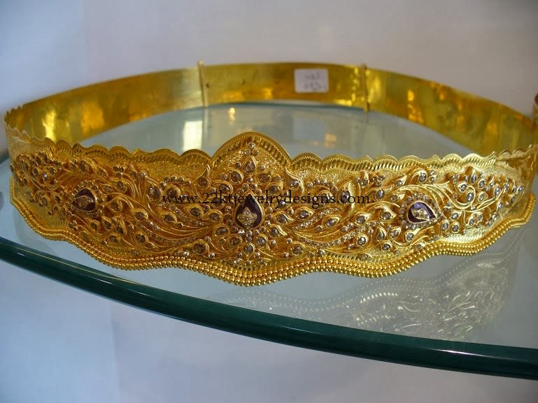 75c32f86c3112 Waist belt stuffed with uncut diamonds. This kind of vaddanam is idle for  parties and temples. approximately 250 grms of 22ct gold required for this  model.