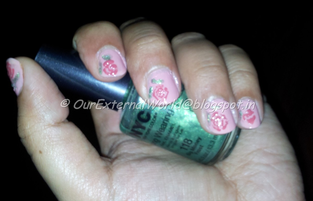 Simple rose nail art - with picture tutorial