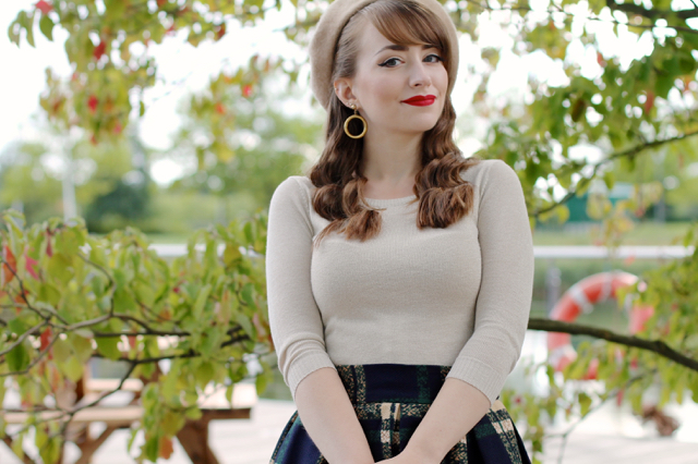 Collectif bardot top, Bow and Crossbones hoop earrings, SheIn skirt and beret