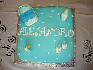 Vista cenital tarta Baby shower de Alejandro