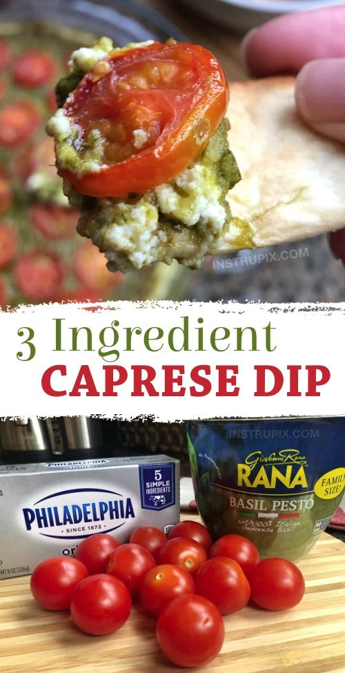 Quick & Easy Warm Caprese Dip (3 Ingredients!) - The BEST appetizer for a crowd!