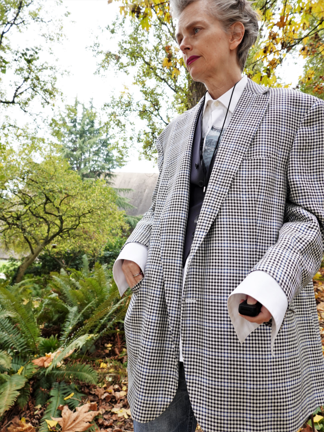 Mel Kobayashi, men's oversized suit jacket, Bag and a Beret