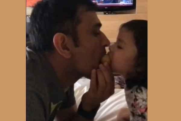 jiva-attack-on-papa-dhoni-laddu-video-viral-on-social-media