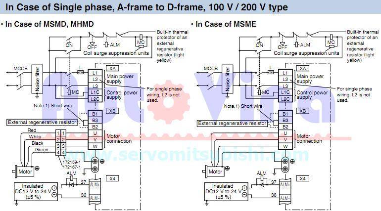 Sơ đầu đấu nối servo Panasonic Minas A5 loại 1 phase 220V