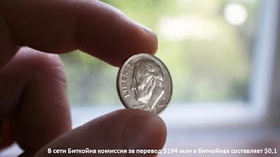 В сети Биткойна комиссия за перевод $194 млн в биткойнах составляет $0,1