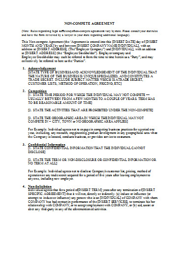 Employee NonCompete Agreement Templates   Free Word Format  Best