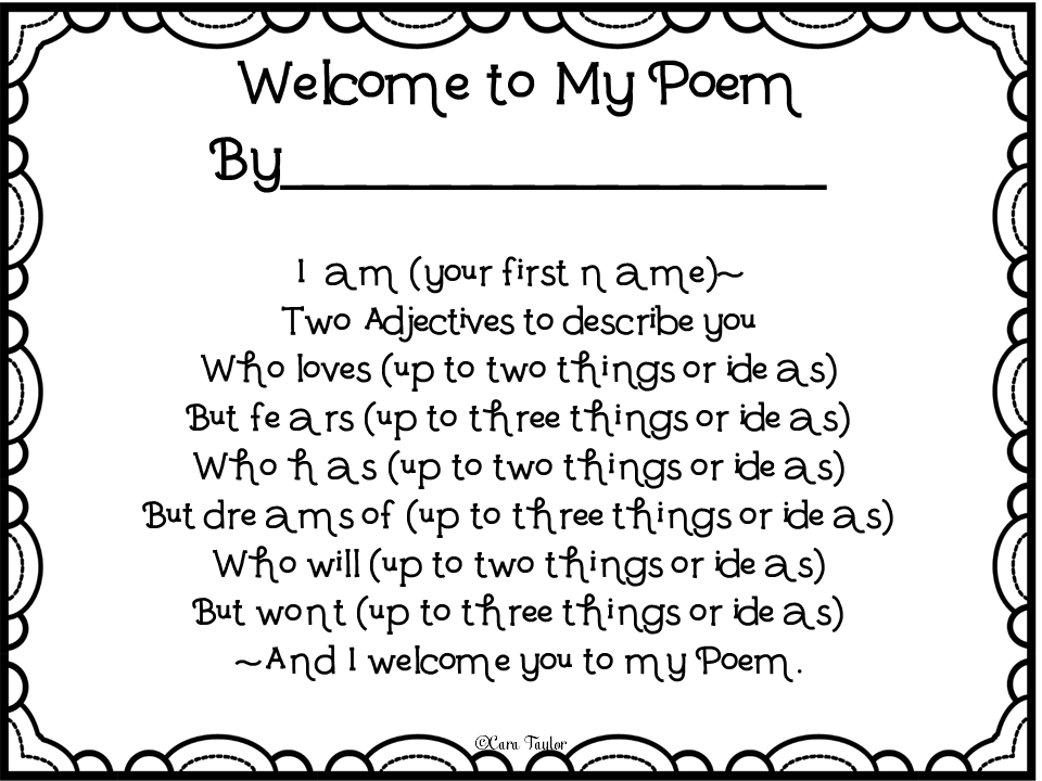 Creative Playground: Welcome to My Poem~ Back to School