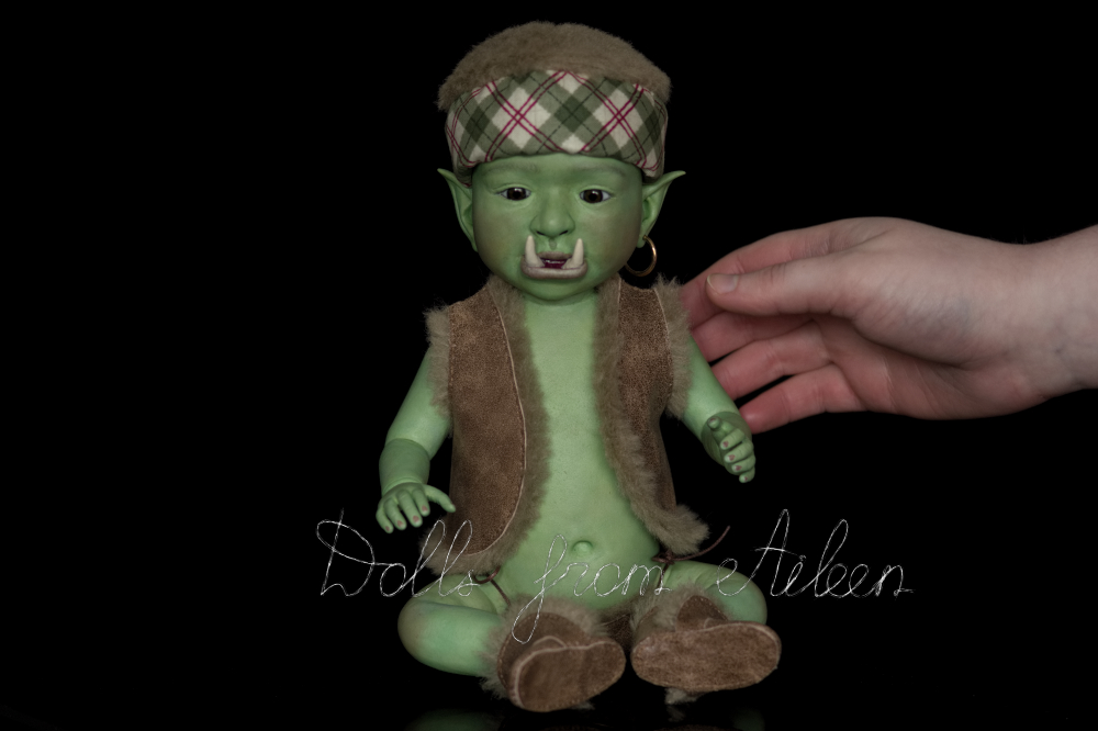 ooak artist baby orc doll with human hand