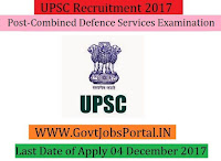 Union Public Service Commission Recruitment 2017– 414 Combined Defence Services Examination
