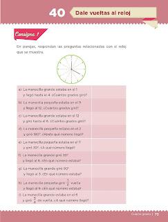 Apoyo Primaria Desafíos Matemáticos 4to. Grado Bloque II Lección 40 Dale vueltas al reloj